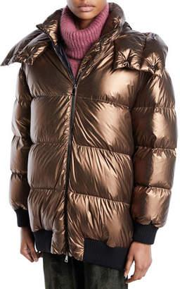 Moncler Verdier Metallic Puffer Jacket