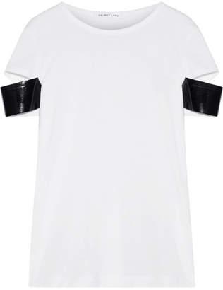 Helmut Lang Faux Patent Leather-trimmed Pima Cotton-jersey T-shirt