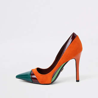 River Island Orange color block pumps