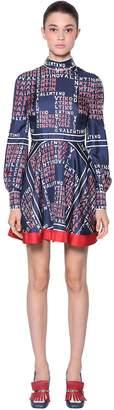 Valentino Logo Printed Silk Twill Dress