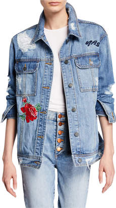 Hidden Jeans Nobody Asked You Deconstructed Embroidered Denim Jacket