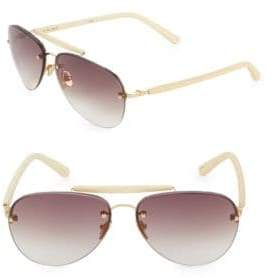 Linda Farrow Luxe Statement Bar 60MM Aviators Sunglasses