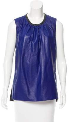 Reed Krakoff Leather-Accented Silk Top