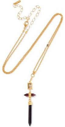 Chan Luu 18-Karat Gold-Plated Quartz Garnet And Hypersthene Necklace