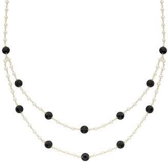 Onyx & Freshwater Cultured Pearl 14k Gold Swag Necklace