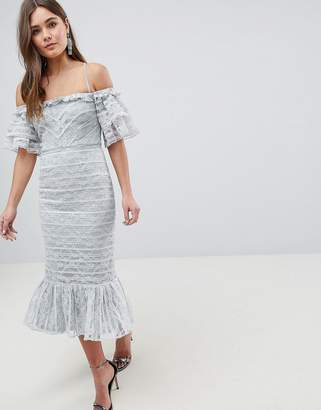 Asos DESIGN Linear Lace Pencil Midi Dress with Ruffle Detail