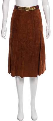 Gucci Pleated Suede Skirt