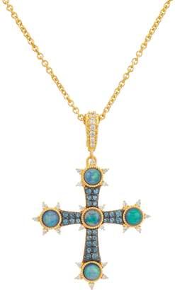 Judith Ripka 14K Clad Opal Doublet Cross Enhancer with Chain