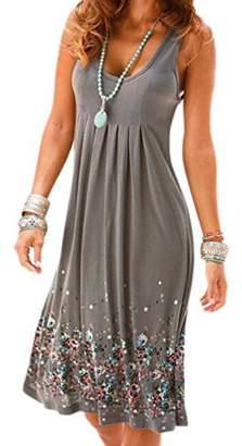 Miatty Women Round Neck Sleeveless Dress Summer Beach Mini Flared Tank Swing Dress