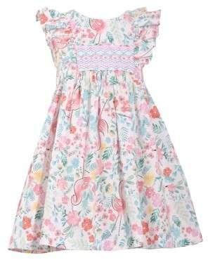 c968fbfe1fb4 Iris   Ivy Little Girl s Flamingo Smocked Dress