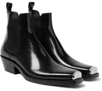 Calvin Klein Chris Metal Toe-Cap Leather Boots