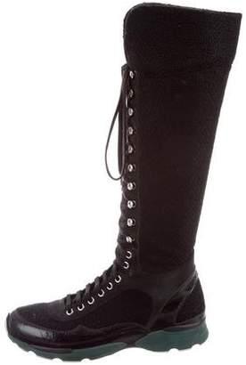 Chanel Tweed Knee-High Sneaker Boots