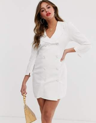 80ad9b046ac0 Asos Design DESIGN denim frill collar button through mini dress in white