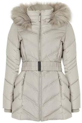 Wallis PETITE Silver Short Padded Belted Coat