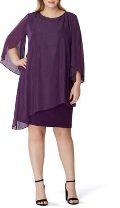 Tahari Metallic Chiffon Overlay Sheath Dress