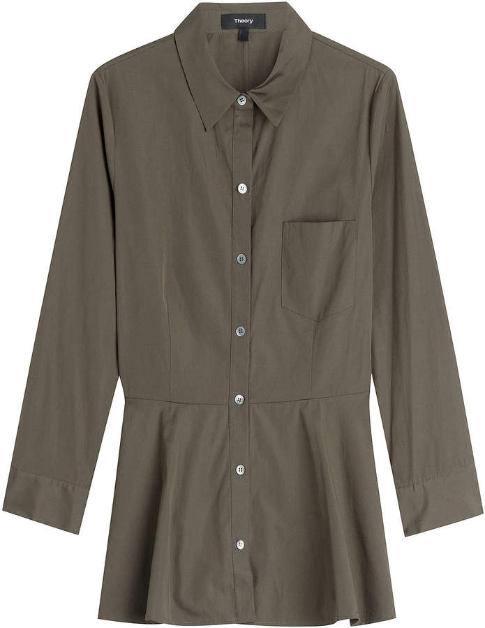 Theory Cotton Shirt with Peplum