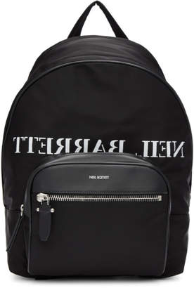 Neil Barrett Black and White Mirror Logo Backpack