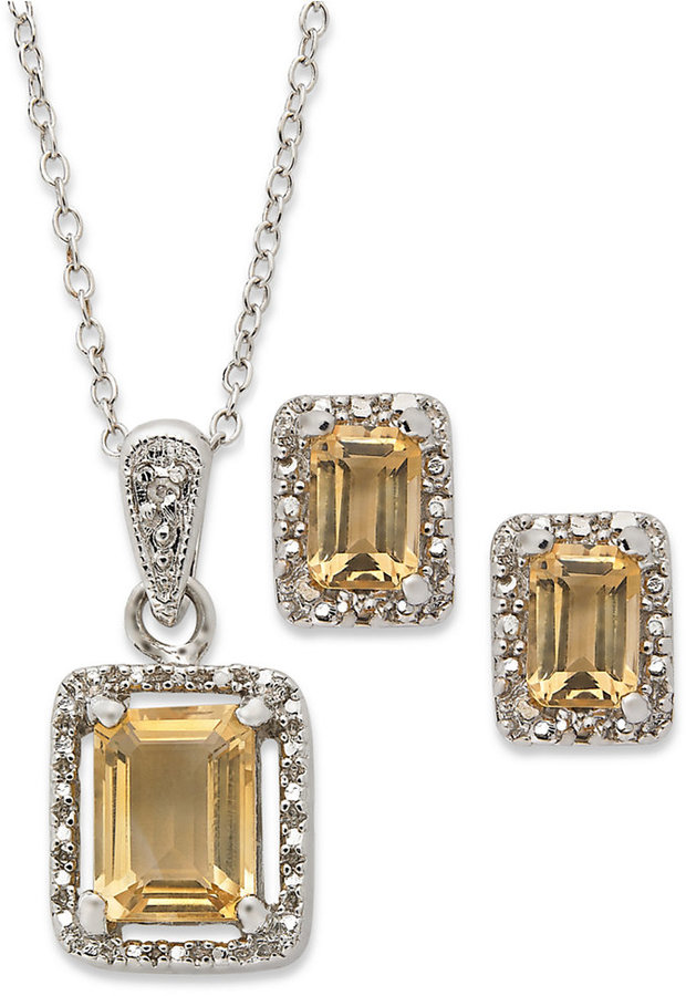 Townsend Victoria Sterling Silver Necklace and Earring Set, Emerald-Cut Citrine (2-3/4 ct. t.w.) and Diamond Accent Necklace and Earrings