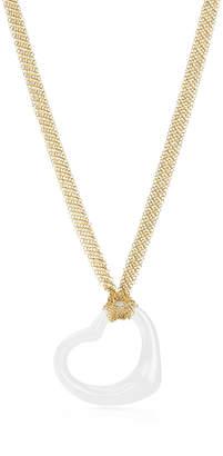 Tiffany & Co. Elsa Peretti® Open Heart pendant of white jade and 18k gold.