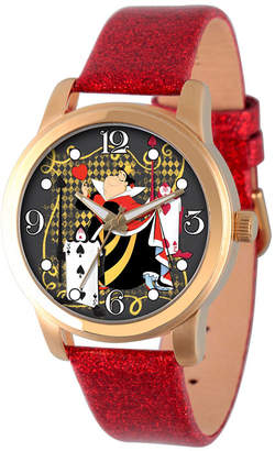 Disney Womens Alice In Wonderland Red And Gold Tone Red Queen Strap Watch