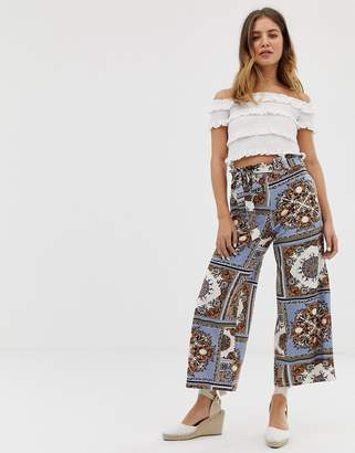 Asos Design DESIGN cropped pant with paper bag tie waist in scarf print