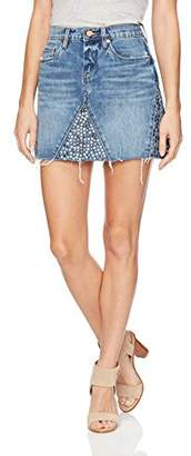 Blank NYC [BLANKNYC] Women's Denim Studded Mini Skirt