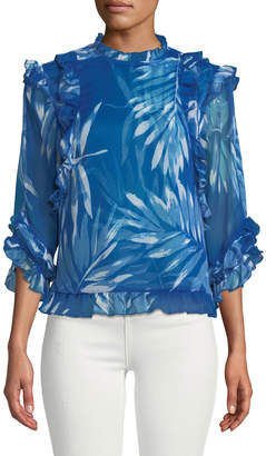 Catherine Malandrino 3/4-Sleeve Mock-Neck Chiffon Blouse