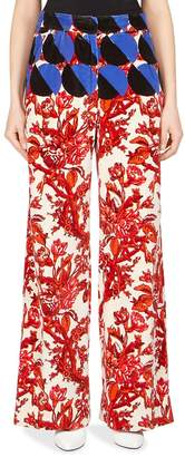 Dries Van Noten Women's Oversize Printed Velvet Wide-Leg Pants - Red-white, Size 38 (4)