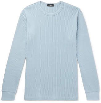 Theory Waffle-knit Pima Cotton Sweatshirt - Blue