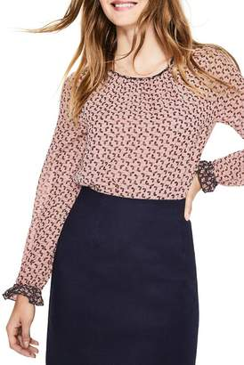 Boden Mix Media Contrast Detail Blouse