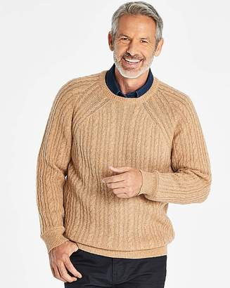 Williams & Brown W&B Camel Lambswool Cable Jumper R