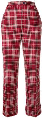 Moncler checked high-waist trousers