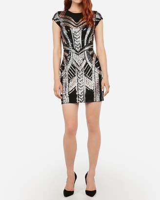 Express Sequin Embellished Cap Sleeve Sheath Dress