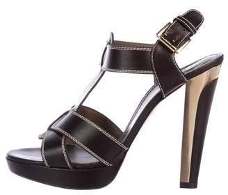 Barbara Bui Leather Peep-Toe Sandals