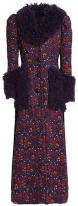 Anna Sui Faux Shearling-Trimmed Jacquard Coat