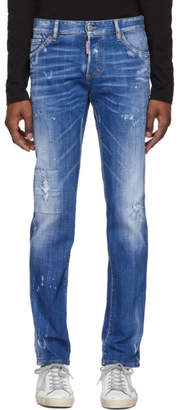 DSQUARED2 Blue Faded Wash Slim Jeans