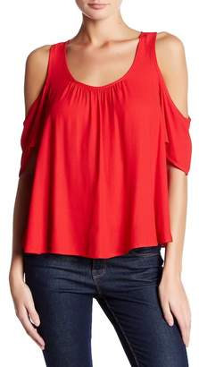 Lush Cold-Shoulder Ruffle Tee $34 thestylecure.com