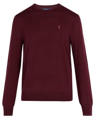 Polo Ralph Lauren Logo Embroidered Wool Sweater - Mens - Burgundy