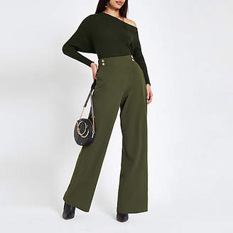 River Island Womens Khaki double button wide leg pull on trousers
