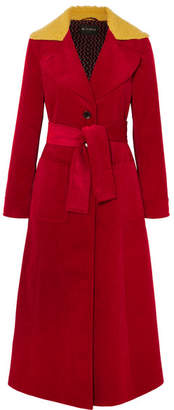 Etro Faux Shearling-trimmed Cotton-corduroy Coat - Red