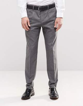 Asos Design Slim Smart Trousers With Pleats And Side Zip In Grey