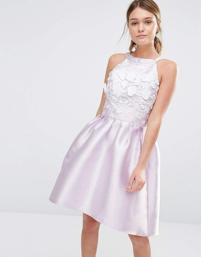 Chi Chi London Sateen High Low Prom Dress With 3D Embroidery
