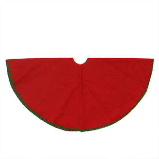 Asstd National Brand 26 Christmas Traditions Cardinal Red with Green Shell Stitching Mini Christmas Tree Skirt