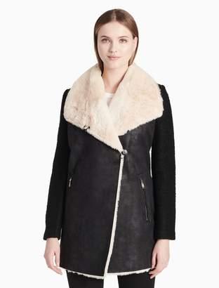 Calvin Klein faux shearling open jacket