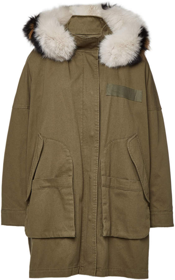 Buy Army by Cotton Down Parka with Fox Fur!
