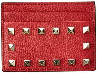 Valentino Rockstud Grainy Leather Card Holder
