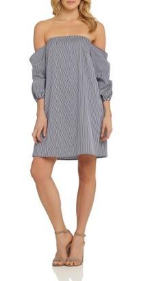 Women's Cece Brooklyn Stripe Off The Shoulder Dress $118 thestylecure.com