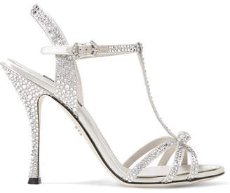 d5a7529f82a8a Dolce   Gabbana Keira Crystal-embellished Satin Sandals - Silver