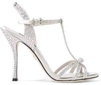 Dolce & Gabbana Keira Crystal-embellished Satin Sandals - Silver