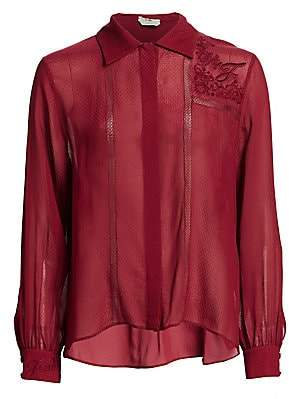 Fendi Women's Embroidered Voile Blouse